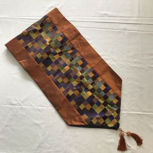Table Runner Brown & Multicolour with Tassels NWOT
